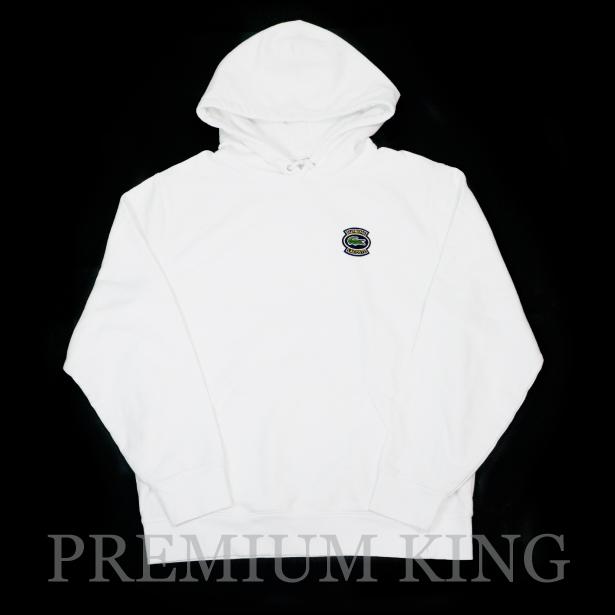 国内正規品 2018SS Supreme × LACOSTE Hooded Sweatshirt White 新品未使用品 [ シュプリーム ラコステ フーデッド スウェットシャツ フーディー パーカー ホワイト ]