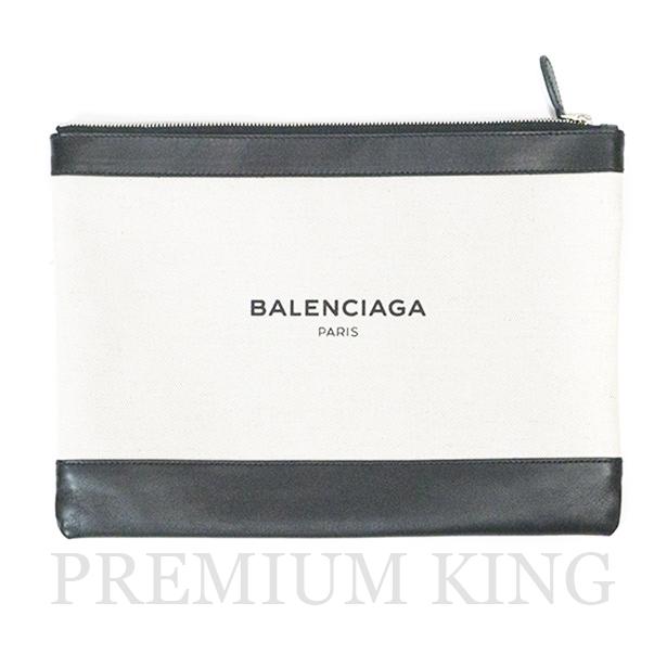 正規品 2017SS BALENCIAGA Navy Clip M Clutch bag White / Black 新品同様品 [ バレンシアガ ネイビー クリップ クラッチ バッグ ホワイト ブラック 白 黒 420407AQ37N ]
