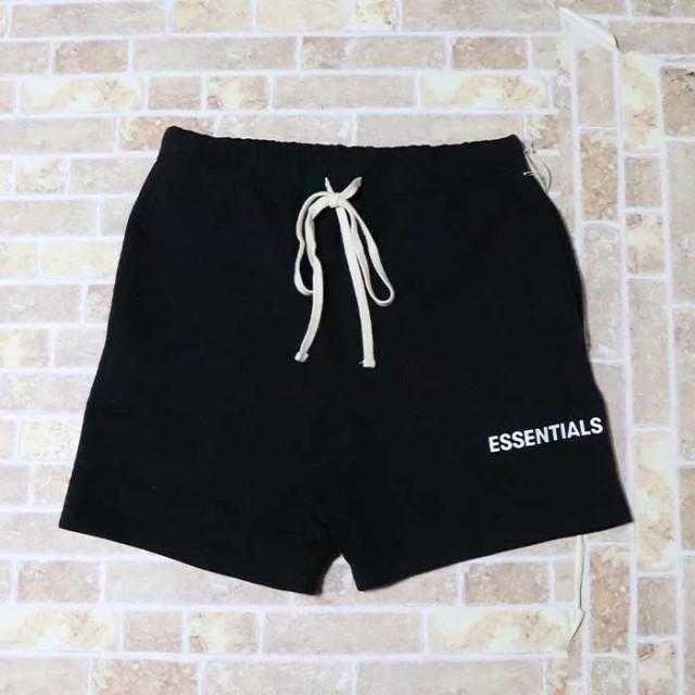 正規品 2019SS FOG Fear Of God Essentials Logo Sweat Shorts Black 新品未使用品 [ フィアオブゴッド エッセンシャルズ ロゴ スウェット ショーツ ブラック 黒 ]