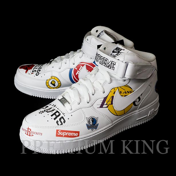 国内正規品 2018SS Supreme/Nike/NBA Teams Air Force 1 Mid White 新品未使用品 [ シュプリーム ナイキ エヌビーエー チーム エアー フォースワン ミッド ホワイト 白 AQ8017-100 ]