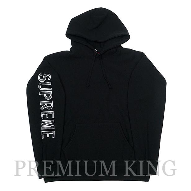 国内正規品 2018SS Supreme Sleeve Embroidery Hooded Sweatshirt Black 新品未使用品 [ シュプリーム エンブロイダリー フーデッド スウェットシャツ ブラック ]