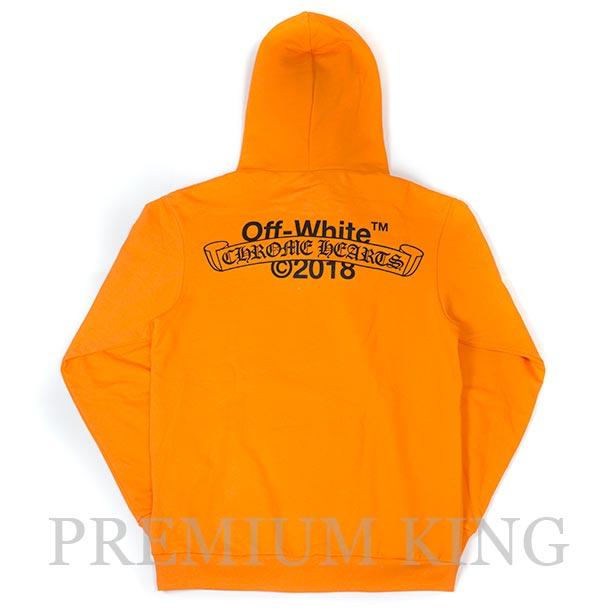 国内正規品 2018SS OFF-WHITE Chrome Hearts Hoodie Orange 新品未使用品  [ オフホワイト クロムハーツ コラボ パーカー フーディー オレンジ ]