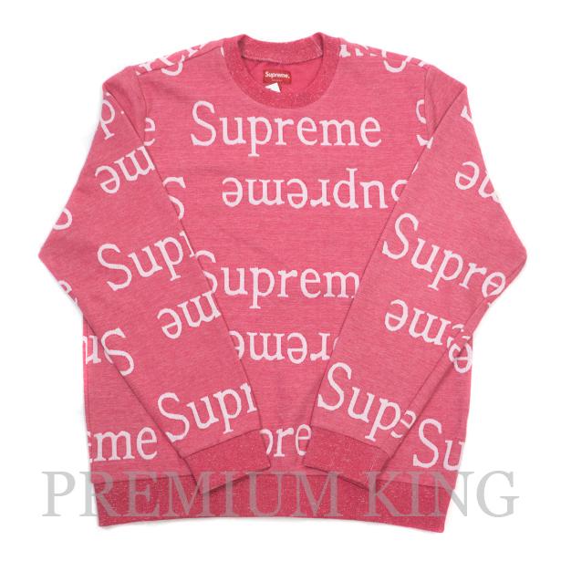 国内正規品 2018SS Supreme Jacquard Logo Crewneck Dark Pink 新品未使用品 [ シュプリーム ジャガードクルーネック ダークピンク ]
