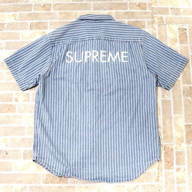 正規品 2017SS Supreme Stripe Denim S/S Shirt Blue 美中古品 [ シュプリーム ストライプ デニム 半袖 シャツ ブルー 青 ]