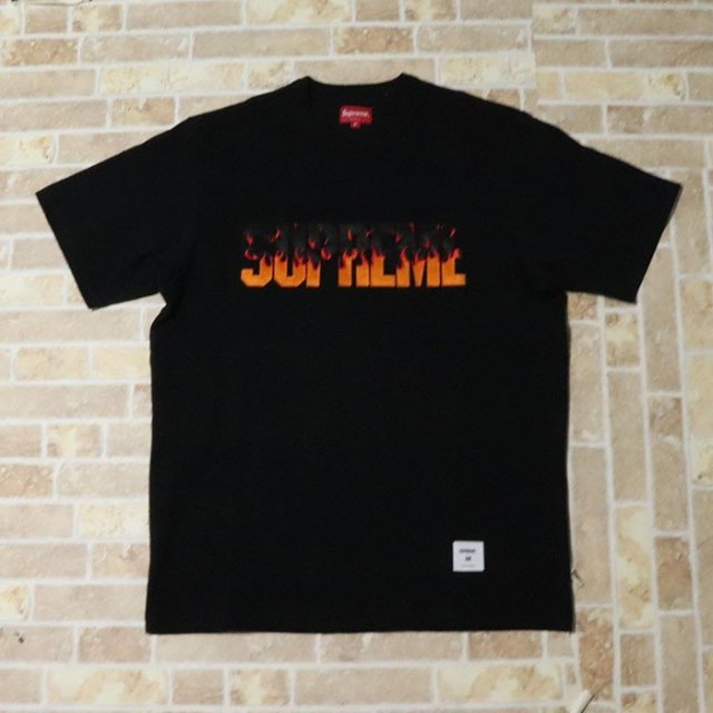 国内正規品 2019AW Supreme Flame S/S Top Black 新品未使用品 [ シュプリーム フレイム ショートスリーブ トップ Tシャツ ブラック 黒 ]