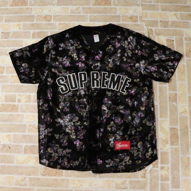 国内正規品 2019AW Supreme Floral Velour Baseball Jersey Black 新品未使用品 [ シュプリーム フローラル ベロア ベースボール ジャージ ブラック 黒 ]