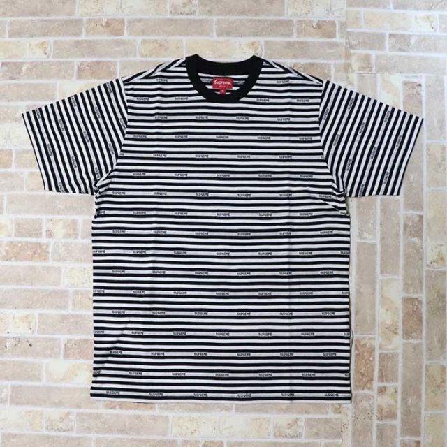 国内正規品 2019SS Supreme Logo Stripe S/S Top Black 新品未使用品 [ シュプリーム ロゴ ストライプ ショートスリーブ トップ Tシャツ ブラック 黒 ]