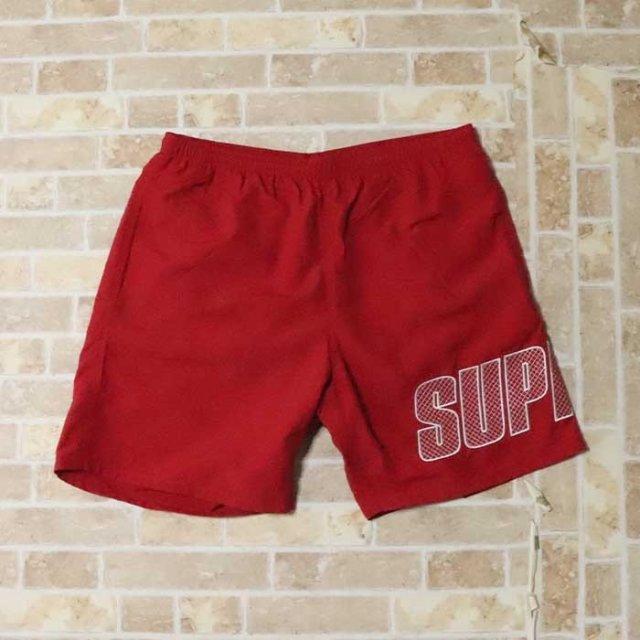 国内正規品 2019SS Supreme Logo Applique Water Short Red 新品未使用品 [ シュプリーム ロゴ アップリケ ウォーター ショーツ ショートパンツ 水着 レッド 赤 ]