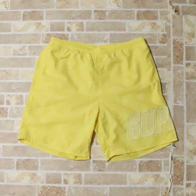 国内正規品 2019SS Supreme Logo Applique Water Short Pale Yellow 新品未使用品 [ シュプリーム ロゴ アップリケ ウォーター ショーツ ショートパンツ 水着 イエロー 黄 ]