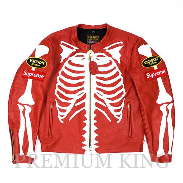 国内正規品 2017FW Supreme × Vanson Leather Bones Jacket Red 新品未使用品 [ シュプリーム バンソン レザー ボーンズ ジャケット レッド ]