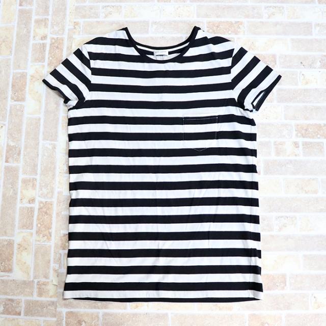 正規品 2013 SAINT LAURENT Border T-shirt Black White 美中古品 [ サンローラン ボーダー Tシャツ ブラック ホワイト 黒 白 ]