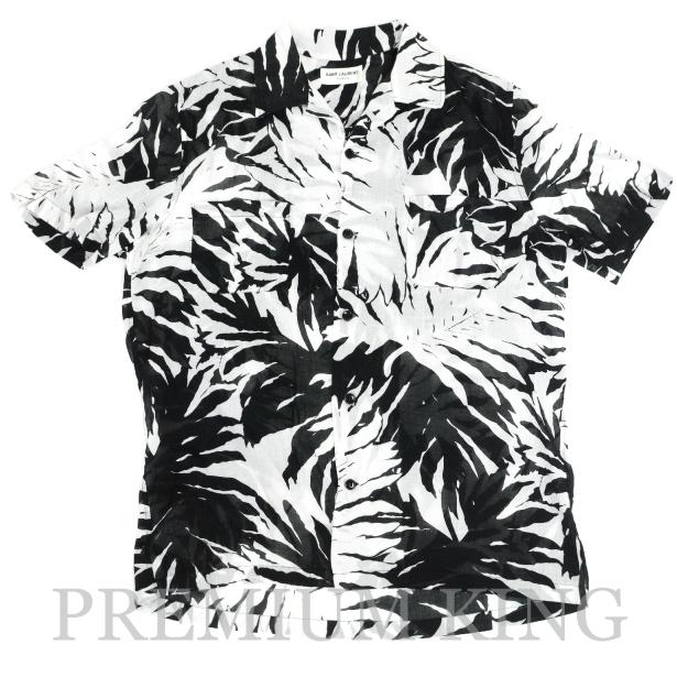 国内正規品 2016 SAINT LAURENT PARIS PALM PRINTED SHIRTS WHITE-BLACK 新品未使用品 [サンローラン パリ パーム プリント シャツ ブラック ホワイト ]