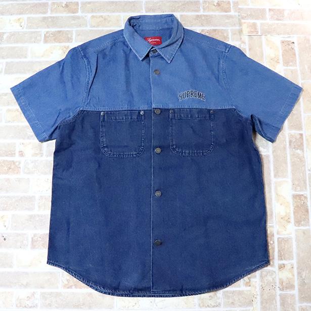 国内正規品 2019SS Supreme 2-Tone Denim S/S Shirt Blue 新品未使用品 [ シュプリーム ツートーン デニム シャツ ブルー 青 ]