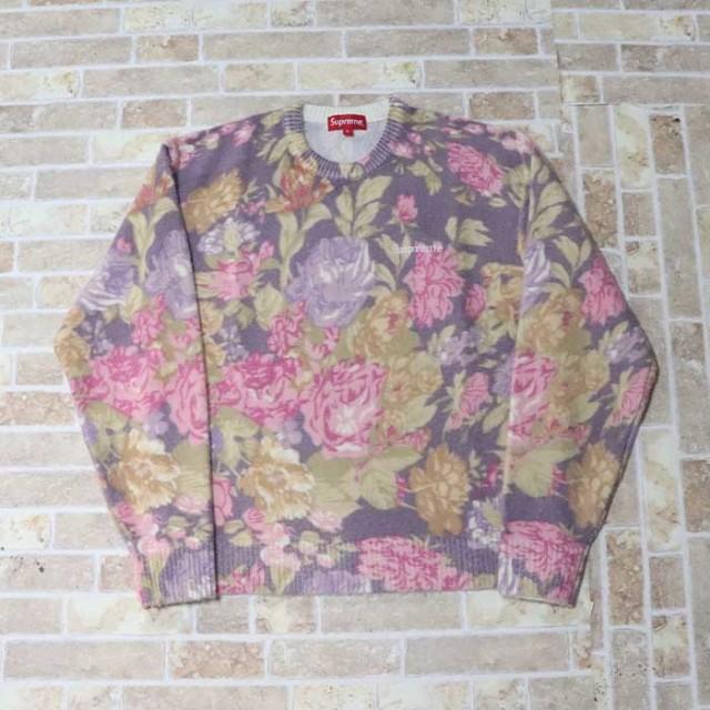 国内正規品 2019SS Supreme Printed Floral Angora Sweater Purple 新品未使用品 [ シュプリーム プリント フローラル アンゴラ セーター パープル 紫 ]