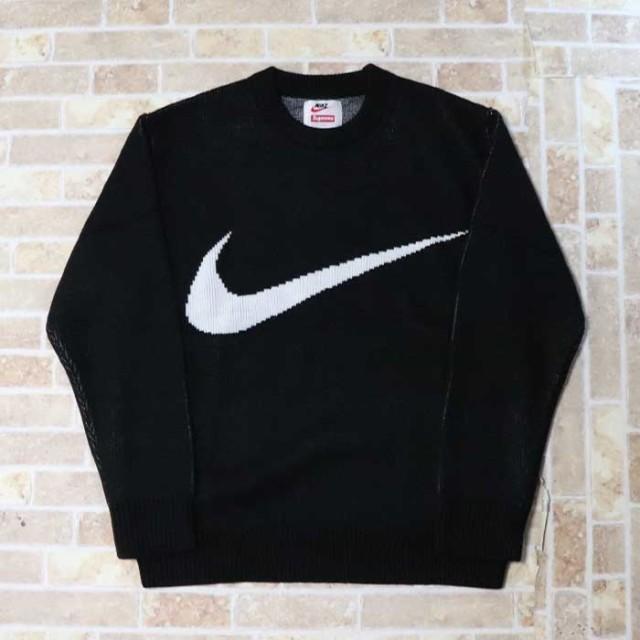 国内正規品 2019SS Supreme × NIKE Swoosh Sweater Black 新品未使用品 [ シュプリーム ナイキ スウッシュ セーター ブラック 黒 ]