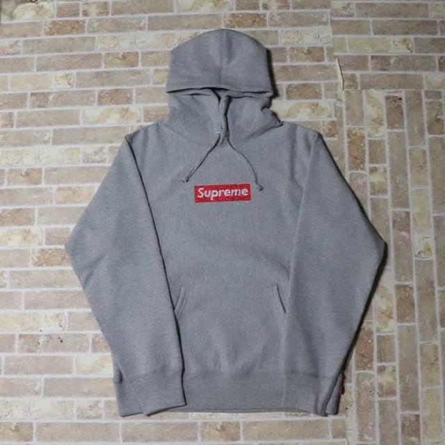 国内正規品 2019SS Supreme x Swarovski Box Logo Hooded Sweat Shirt Heather Grey 新品未使用品 [ シュプリーム スワロフスキー ボックス ロゴ フーディー パーカー ヘザー グレー 25周年 ]