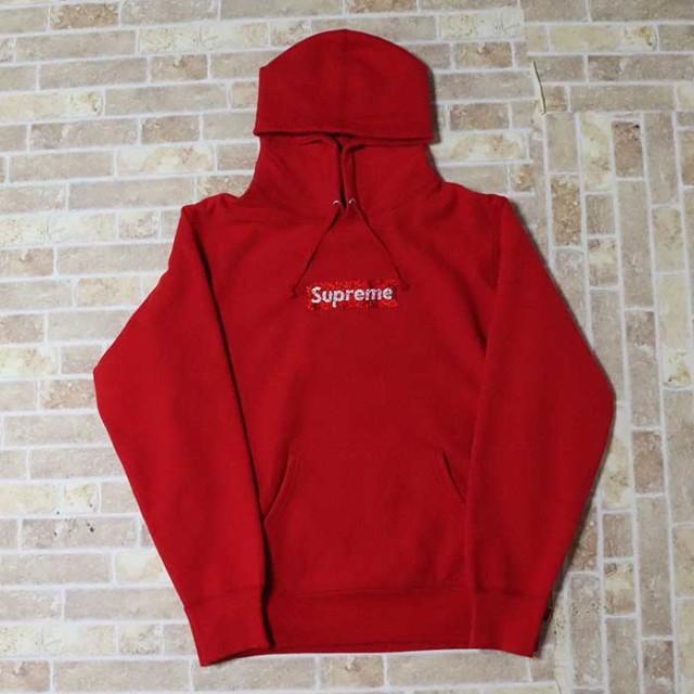 国内正規品 2019SS Supreme x Swarovski Box Logo Hooded Sweat Shirt Red 新品未使用品 [ シュプリーム スワロフスキー ボックス ロゴ フーディー パーカー レッド 赤 25周年 ]