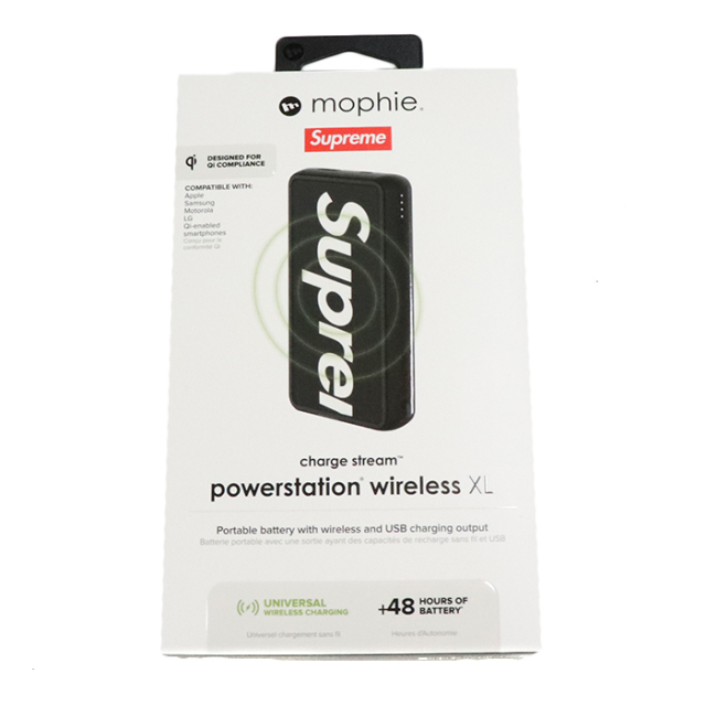 国内正規品 2019SS Supreme x Mophie Powerstation wireless XL Black 新品未使用品 [ シュプリーム モーフィー モバイルバッテリー パワーステーション ワイヤレス ブラック 黒 ]