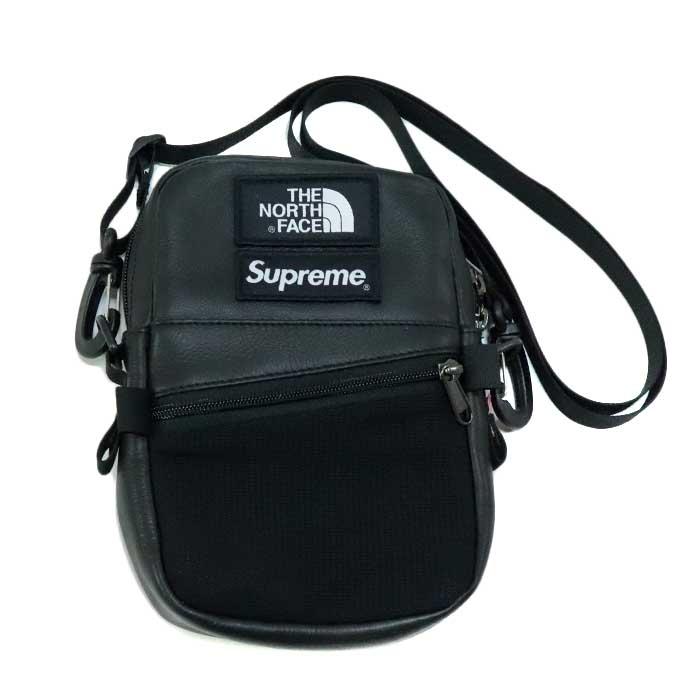 国内正規品 2018AW SUPREME × THE NORTH FACE Leather Shoulder Bag Black 美中古品 [シュプリーム ノースフェイス レザー ショルダーバッグ ブラック 黒 ]
