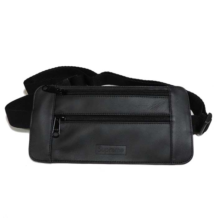 国内正規品 2019SS Supreme Leather Waist/Shoulder Pouch Black 新品未使用品 [ シュプリーム レザー ウエストショルダーバッグ ポーチ ブラック 黒 ]