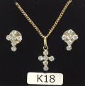 K18キュービッククロスネックレス&クロスピアスセット(K18軽量喜平チェーン)