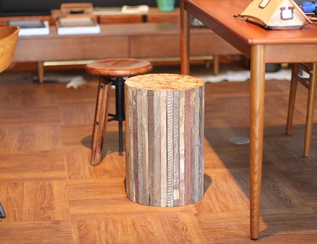 a. depeche アデペシュ Collected-wood round stool コレクトウッド ラウンドスツール