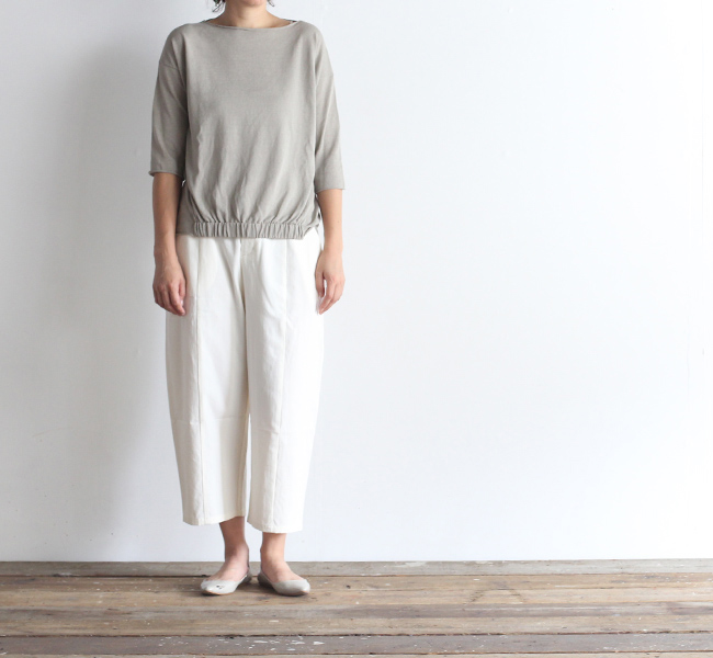 evam eva  エヴァムエヴァ cotton cropped pants E183T013