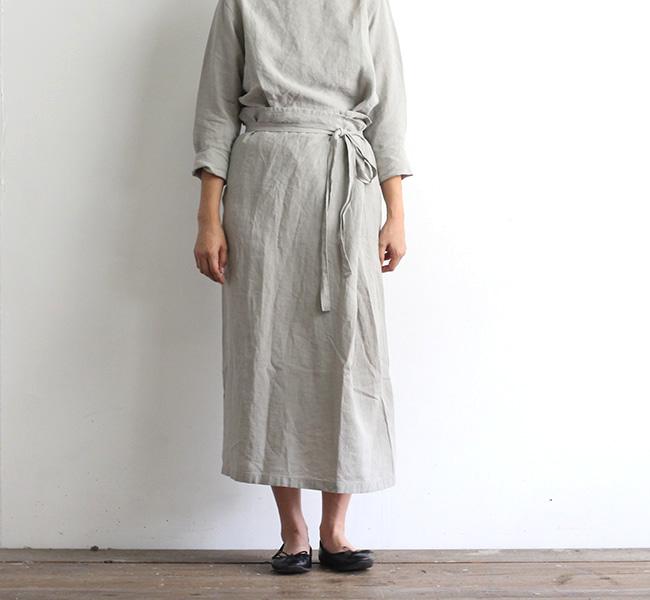 evam eva  エヴァムエヴァ リネンサロンスカート linen salon skirt E213T013