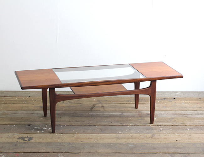 イギリスヴィンテージ G-PLAN ガラストップコーヒーテーブル レクタングル