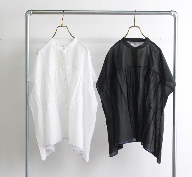 SOIL ソイル バンドカラーシャツ NSL21001 SUPER FINE VOILE PLANE BANDED COLLAR GATHERED FRENCH / SL SHIRT