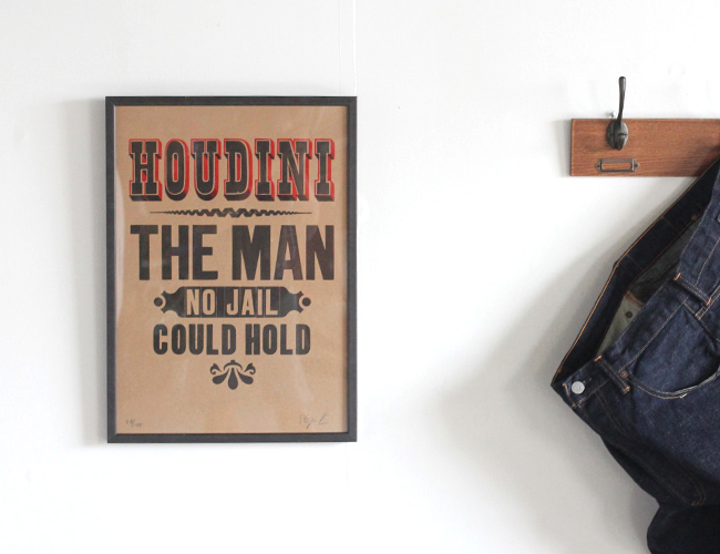 A TWO PIPE PROBLEM LETTERPRESS HOUDINI THE MAN POSTER Lサイズ