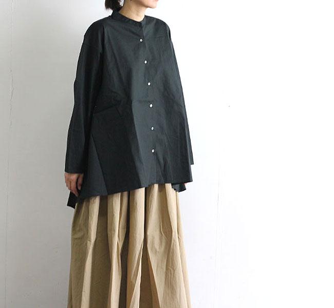 mizuiro-ind  ミズイロインド バンドカラーフレアーシャツ 1-239059
