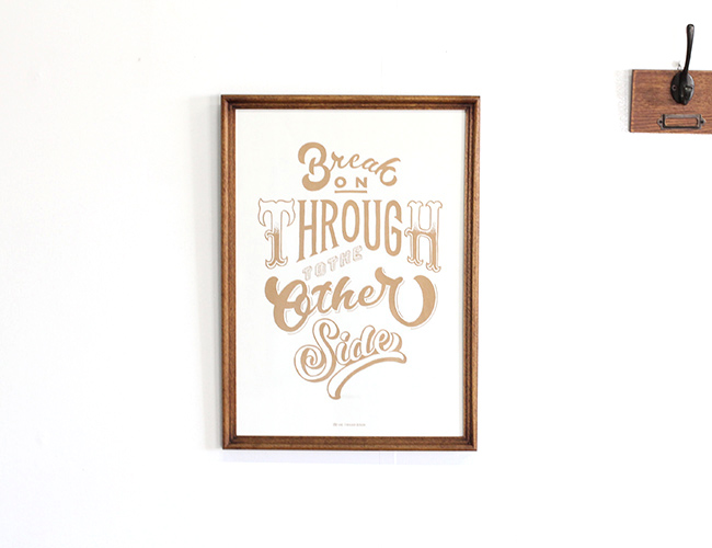 AND THROUGH DESIGN  「Break On Through To The Other Side」 WHITE (A3サイズ) + ACME FURNITURE アクメファニチャー WARNER PHOTO FRAME ワーナー フォト フレーム A4/A3 BROWN