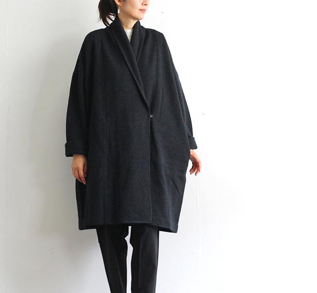evam eva  エヴァムエヴァ プレスウールローブコート press wool robe coat E203K055