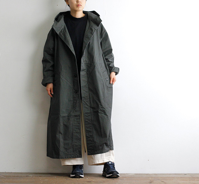 HTS NHT2151DT HEAVY WEIGHT COTTON TWILL OVERDYE HOODED COAT コットンツイルフードコート