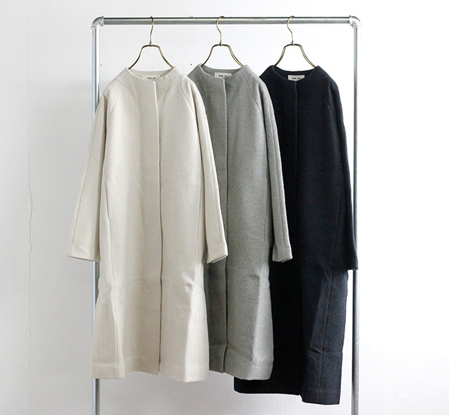 evam eva  エヴァムエヴァ プレスウールコート press wool coat E213K115