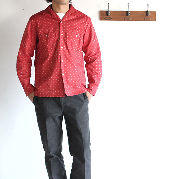 SALE50%  A VONTADE アボンタージ Open Shirt -Star Dots-
