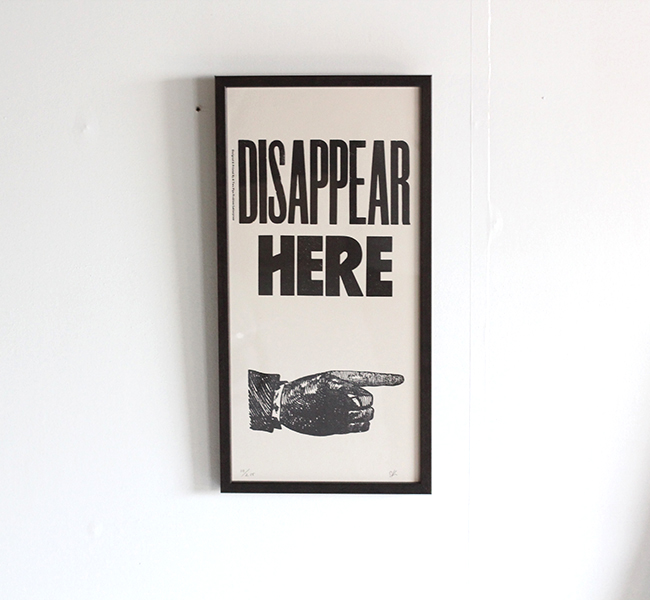 A TWO PIPE PROBLEM LETTERPRESS   DISAPPEAR POSTER  Mサイズ