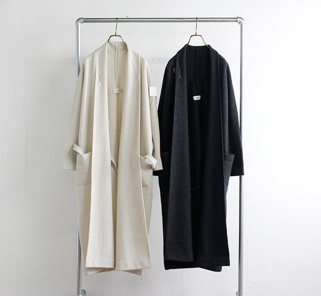 evam eva  エヴァムエヴァ プレスウールローブコート press wool robe coat E213K117