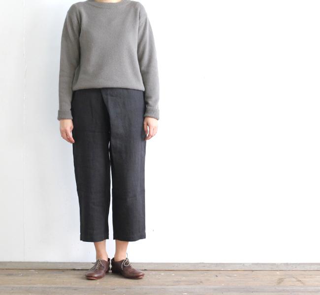 evam eva  エヴァムエヴァ linen twill wrap pants E191T023