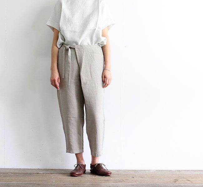 evam eva  エヴァムエヴァ リネン ラップ パンツ linen wrap pants E202T004