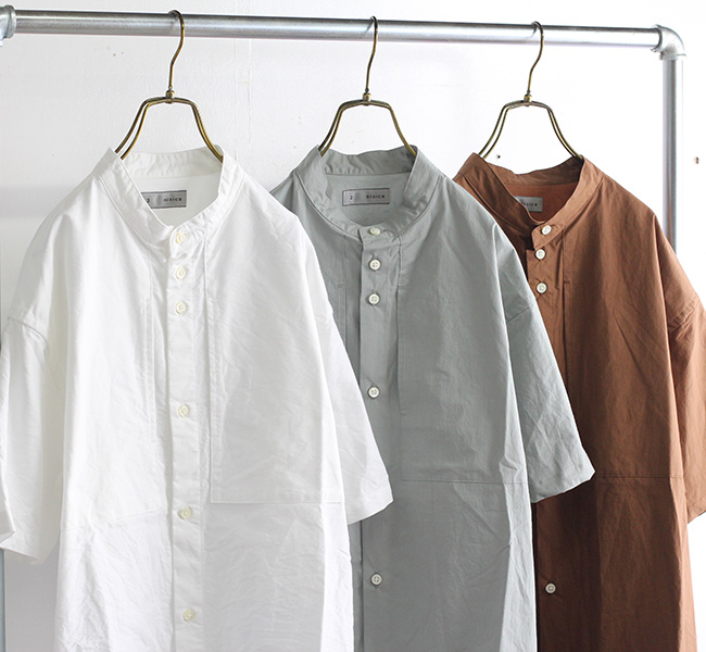 nisica ニシカ S/S バンドカラーシャツ 半袖 NIS-971
