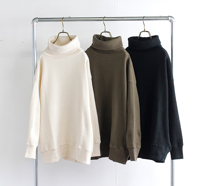 SOIL ソイル ワッフルタートルネック GNSL21541 COTTON WAFFLE TURTLE NECK L/SL PULLOVER