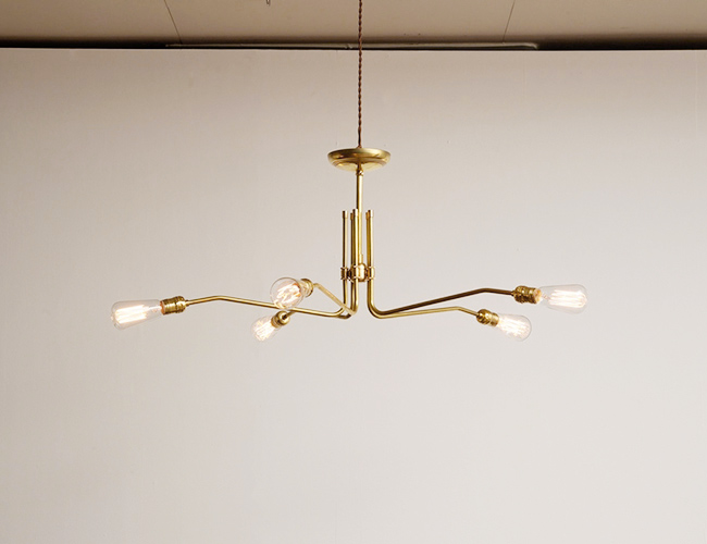ACME FURNITURE アクメファニチャー SOLID BRASS LAMP MID LONG 5ARM ソリッドブラスランプミッドロングファイブアーム