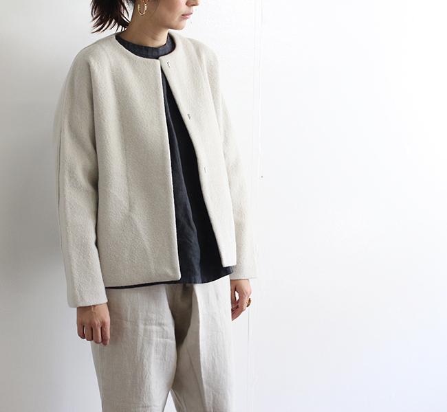 evam eva  エヴァムエヴァ press wool short coat E193K043