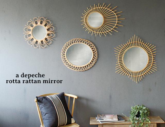 a. depeche アデペシュ    rotta rattan mirror L
