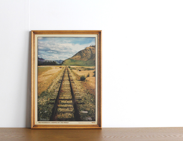 『The Railway Track』 (A3サイズ) + ACME FURNITURE アクメファニチャー WARNER PHOTO FRAME ワーナー フォト フレーム A4/A3 BROWN