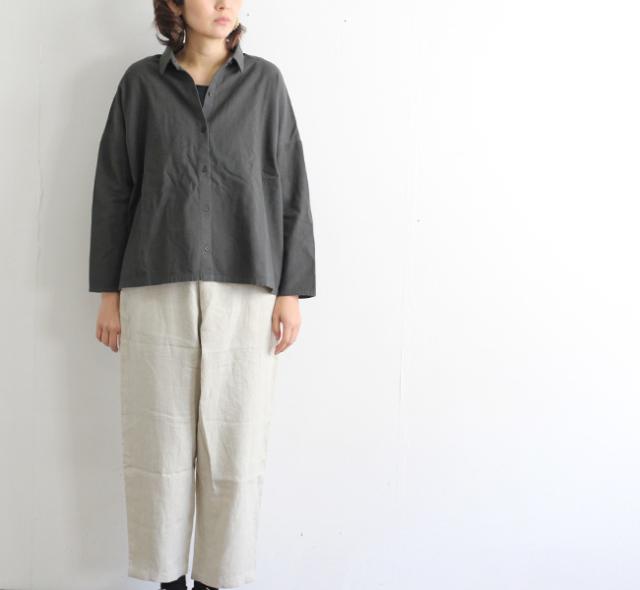 evam eva  エヴァムエヴァ  コットンウール スクエアシャツ cotton wool square shirt E201T008