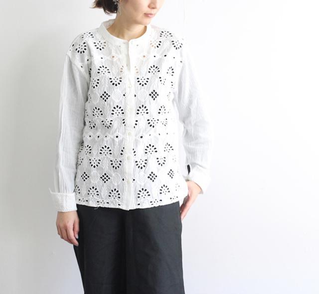 mizuiro-ind ミズイロインド バンドカラーレースシャツ  1-239592