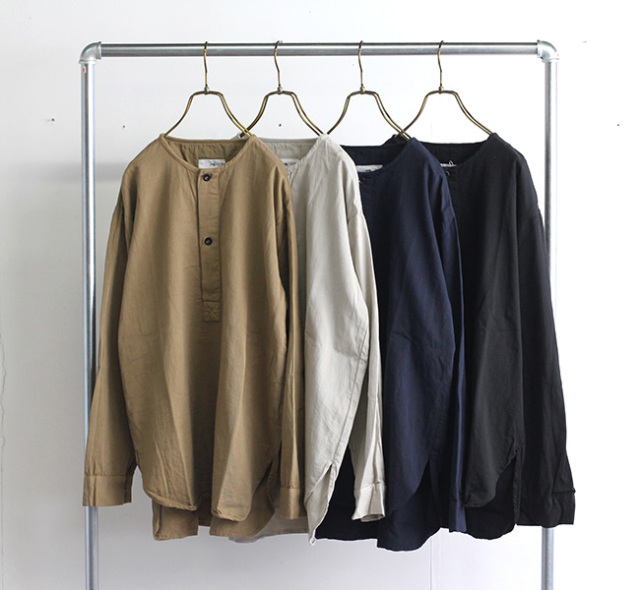 HTS INHT1501CT 40'S COTTON TWILL OVERDYE HENLY NECK SHIRT ヘンリーネックシャツ